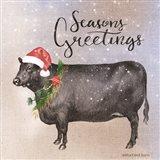 Vintage Christmas Be Merry Cow Art Print