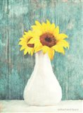 Sunflower White Vase Art Print