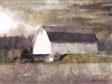 Rustic White Barn Scene I Art Print