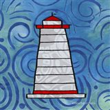 Whimsy Coastal Conch Lighthouse Art Print