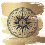 Brushed Gold Compass Rose Art Print