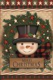 Merry Christmas Snowman Wreath Art Print