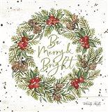 Be Merry & Bright Wreath Art Print