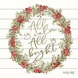 All is Calm Berry Wreath Art Print