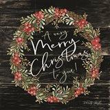 A Very Merry Christmas Wreath Art Print