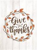 Give Thanks Wreath Art Print