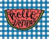 Hello Summer Watermelon Art Print