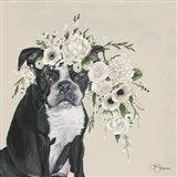 Dog and Flower Art Print