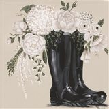 Flowers and Black Boots Art Print