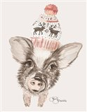 Cozy Pig Art Print