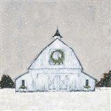 Christmas Snowy Barn Art Print