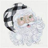 Santa with Buffalo Check Art Print