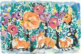 Foxes and Flowers Art Print