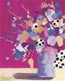 Magenta Polka Dot Floral Art Print
