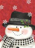 Holly & Black Plaid Snowman Art Print
