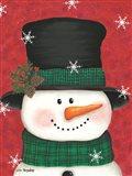 Pine Cones & Green Plaid Snowman Art Print