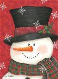 Holly & Red Plaid Snowman Art Print