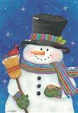 Snowman with Broom Art Print