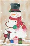 Snowman with Presents Art Print