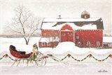 Christmas Barn with Sleigh Art Print