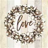 Love Cotton Wreath Art Print