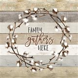 Family Gathers Here Cotton Wreath Art Print