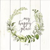 My Happy Place Wreath Art Print