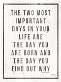 Two Most Important Days Art Print