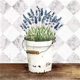 Purple Flowers Metal Bucket Art Print