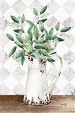 Eucalyptus White Tin Pitcher Art Print