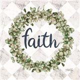 Faith Eucalyptus Wreath Art Print