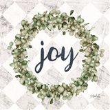 Joy Eucalyptus Wreath Art Print