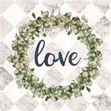 Love Eucalyptus Wreath Art Print