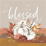 Blessed Pumpkin and Fall Flowers Art Print