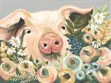 Pig in the Flower Garden Art Print