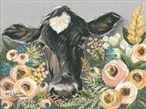 Cow in the Flower Garden Art Print