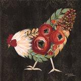 Botanical Rooster Art Print