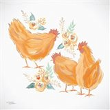Trio of Floral Roosters Art Print