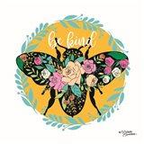 Be Kind Floral Bee Art Print