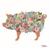 Floral Pig Art Print