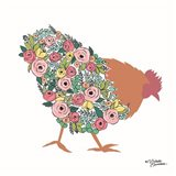 Floral Rooster Art Print