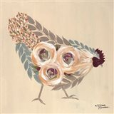 Floral Hen Blue and Yellow Art Print