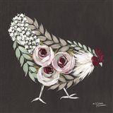 Floral Hen Mint and Pink Art Print