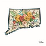 Floral Connecticut Art Print
