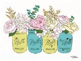 Floral Canning Jars Art Print
