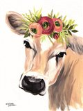 Jersey Cow with Floral Crown Art Print