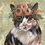 Cat with Floral Crown Art Print
