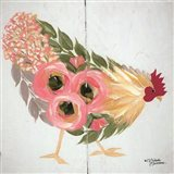 Floral Hen on White Art Print