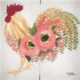 Floral Rooster on White Art Print