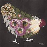 Floral Hen on Black Art Print
